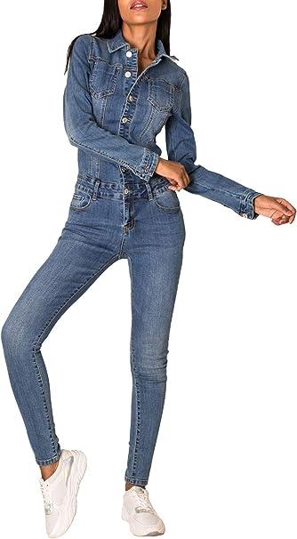 EGOMAXX Damen Jeans Overall Jumpsuit /Ärmellos Hosenanzug Einteiler