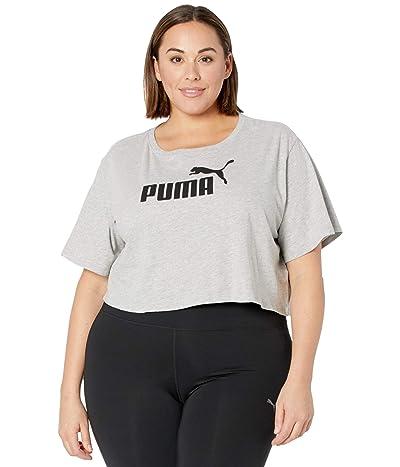 PUMA Plus Size Essential Cropped Logo Tee (Light Gray Heather) Women