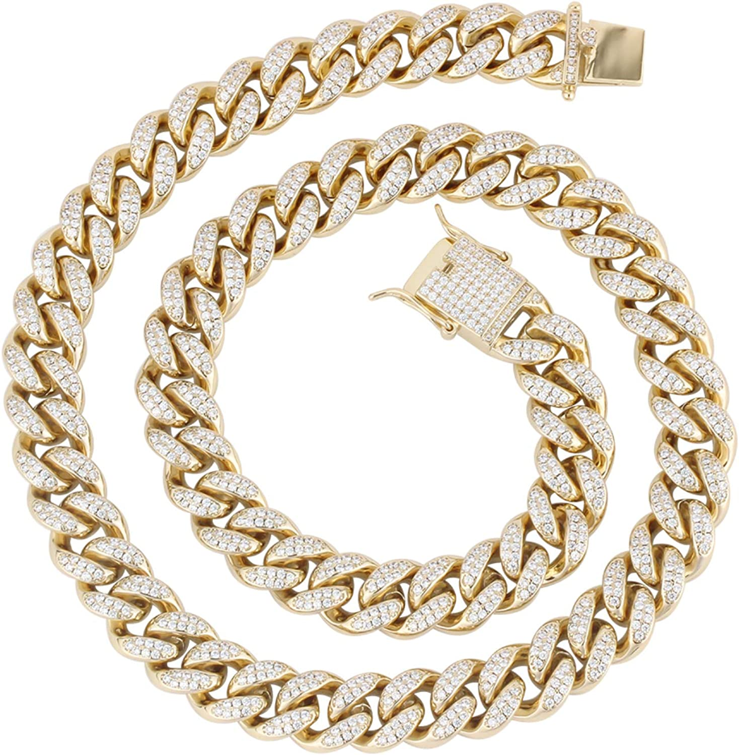 PY Bling Mens Genuine Free Shipping Iced Out Hip Hop Miami Chain 12mm Choke Link Denver Mall Cuban