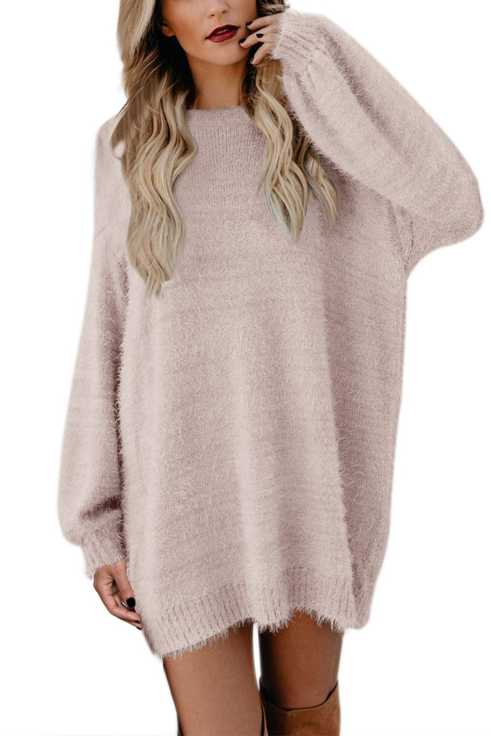 Sweater Dress - Women's Turtleneck Ribbed Elbow Long Sleeve Knit Sweater Dress
