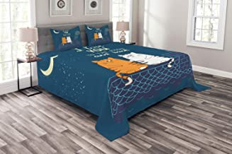 Ambesonne I Love You Bedspread, Love Cats on The Roof Under Night Sky Moon Stars Caricature Kitty Image, Decorative Quilted 3 Piece Coverlet Set with 2 Pillow Shams, Queen Size, Petrol Blue Ivory