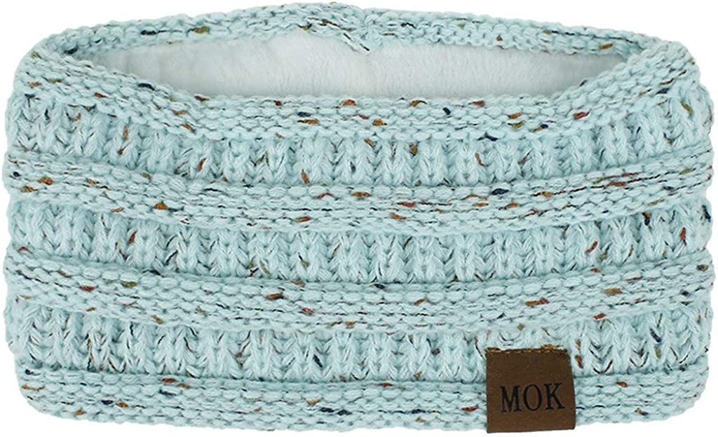 Women Fashion Bohemia Knitting Headband Handmade Keep Warm Elastic Plush Hairband Gift for Girl Friend