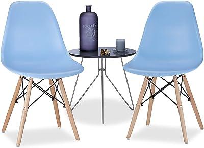 Relaxdays Chaise salle à manger design retro bleue ARVID lot de 2 moderne cuisine HxlxP: 82 x 47 x 55 cm, bleu