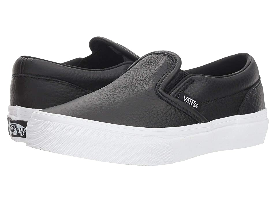 Vans Kids Classic Slip-On (Little Kid/Big Kid) ((Tumble Leather) Black/True White) Girls Shoes