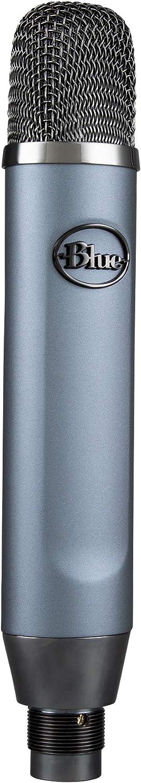 Blue Ember XLR Micrófono condensador para grabación, Podcasting y transmisión, Cápsula cardioide personalizada y Soporte de micrófono - Gris