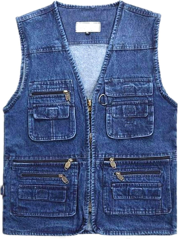CNBPLS Men's Denim Vests,Plus Fertilizer Plus Size Multi-Pocket Tank Tops,Washed Recreational Fishing Work Outerwear Vest,Blue,3XL