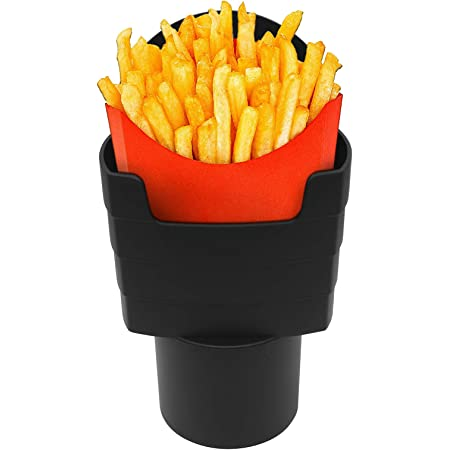 Hangnuo French Fry Cup Holder Black Car French Fry Cup Holder Drink Beverage Fast Food Holders Phone Mount Automotive Interior Accessories for Car Boats Truck Cup Holder