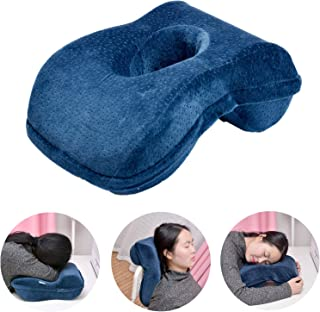 WOWSEA Nap Sleeping Pillow - Bamboo Charcoal Pure Memory(Slightly Hard) Foam Nap Pillow Slow Rebound Desk Pillow, Removable Washable Velvet (Suitable Slender Ladies or Teenagers)