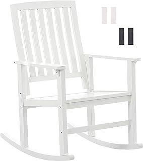 CLP Silla Mecedora Galway de Madera de Abedul I Mecedora con 96cm de Altura I Mecedora Relax I Mecedora de Salón I Color: Blanco