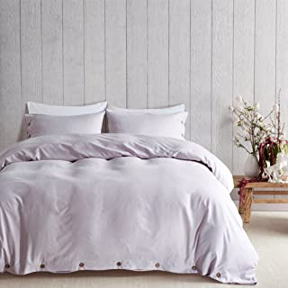 AiMay Duvet Cover Set 100% Luxury 150g Double Brushed Microfiber with Coconut Buttons Closure Solid Color Heavy and Super Soft Warm More Durable (King, Light Lavender)