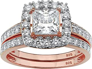 Rose Gold Plated Sterling Silver Princess Cut Cubic Zirconia Halo Bridal Ring Set