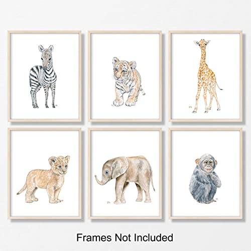 Safari Nursery Prints Set of 6 Unframed, Pick Your Baby Animals, Size and Orientation, Original Watercolor Art Signed by Artist