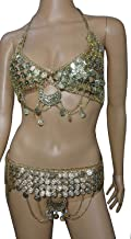 Egyptian Belly Dance Belt & Bra Professional Metal Brass Bra Cup Coins Handmade Tribal Set W/Chain Gypsy Dancing 437