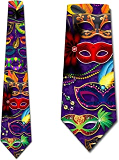 Mardi Gras Ties Mens Themed Holiday Necktie by Three Rooker