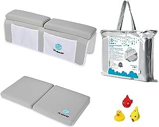 JCube&P Bath Kneeler - Bath Kneeler and Elbow Rest - 3 Bonus Baby Bath Toys - Padded Knee Mat for Tub Bathing - Bathroom Time Bath Kneeling Pad (Spring)