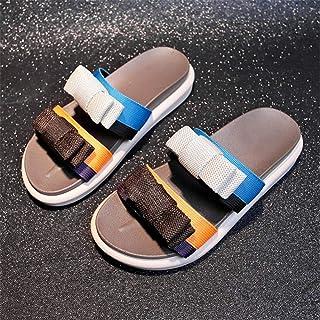 ZUOX Couples Chaussures de Plage décontractées,Chaussons à Semelle épaisse avec nœud en Couleurs et Sandales sur Le Bas-Br...