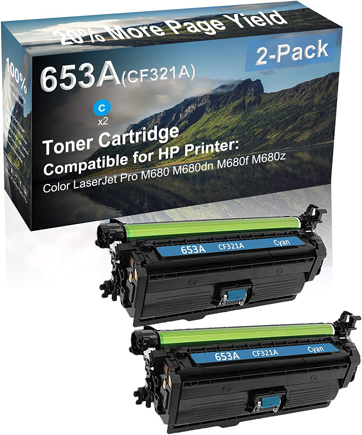 2-Pack (Cyan) Compatible M680 M680dn M680f M680z Printer Toner Cartridge High Capacity Replacement for HP (CF321A) 653A Toner Cartridge