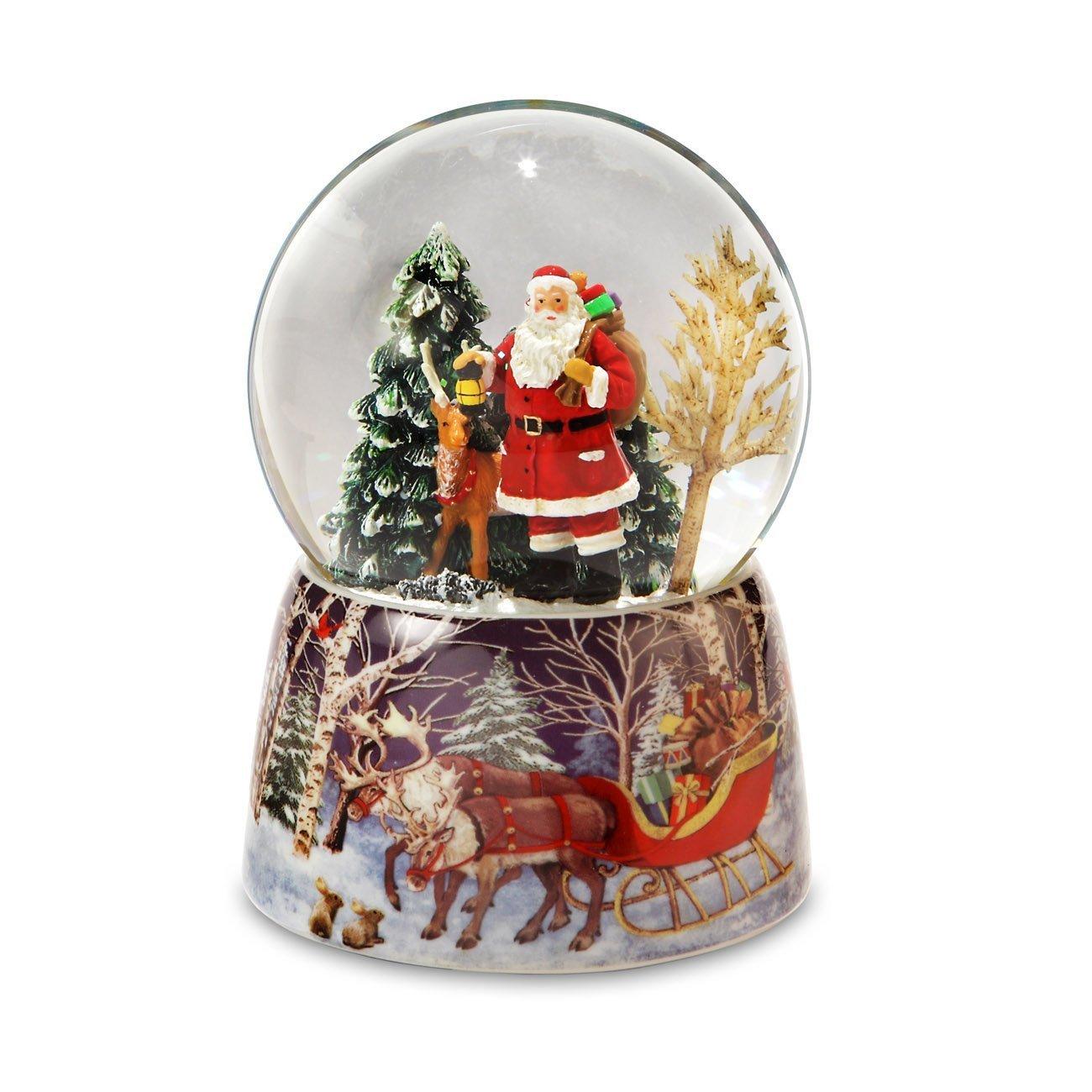 Image of Beautiful Reindeer and Santa Claus Snow Globe
