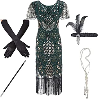 Costume Dress Women Flapper Roaring 20s Fringed Sequin Beaded Dress and Embellished Art Deco Dress Accessories