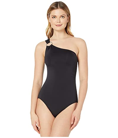 MICHAEL Michael Kors Iconic Solids One Shoulder One-Piece (Black) Women