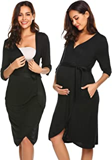 Maternity Robe 3 in 1 Labor Delivery Nursing Gown Hospital Breastfeeding Dress Bathrobes