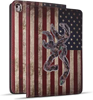 iPad 9.7 2018/2017 Case, iPad Air 2, iPad Air, Pro 9.7 Case, Soft Rubber Back Cover, Protective Leather Case, Adjustable Stand Auto Wake/Sleep Smart Case for ipad 6th/5th Gen, Camo USA American Flag