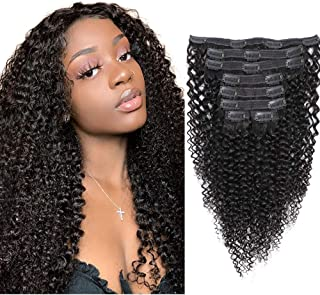 Sibaile Kinky Curly Clip ins Human Hair,Real Thick,Double Weft,8A Virgin Remy Human Hair 3C 4A Type Kinkys Curly Clip in Hair Extensions for Women Natural Color 120g 8Pcs/Set with 18 Clips 16Inch