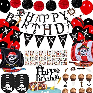 Pirate Themed Birthday Decorations Party Supplies Include Happy Birthday Banner Hanging Swirls Balloons Eye Mask Cake Topp...