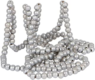 Vintage Style Silver Wood Bead Garland Christmas Tree Holiday Decoration, 9 Feet