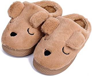 Image of Brown Sleepy Puppy Slippers for Boys and Toddlers - See More Colors
