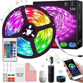 Tira LED, Tira De Luces Led Wifi Alexa 5m Control App Impermeable Rgb,Tira de luz controlada por teléfono Inteligente, Tra...