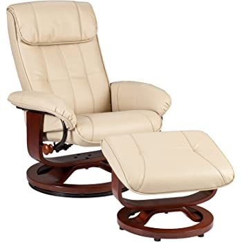 SEI U-Base Donavan Recliner and Ottoman, Taupe Bonded Leather
