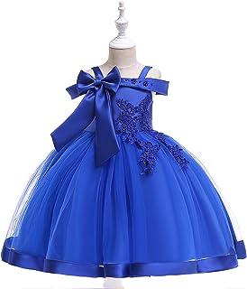 Candykids子供ドレス ロングドレス 女の子 ジュニア ピアノ 発表会 パーディー 演奏会 フォーマル 入園式 結婚式 ワンピース (ブルー, 110cm)