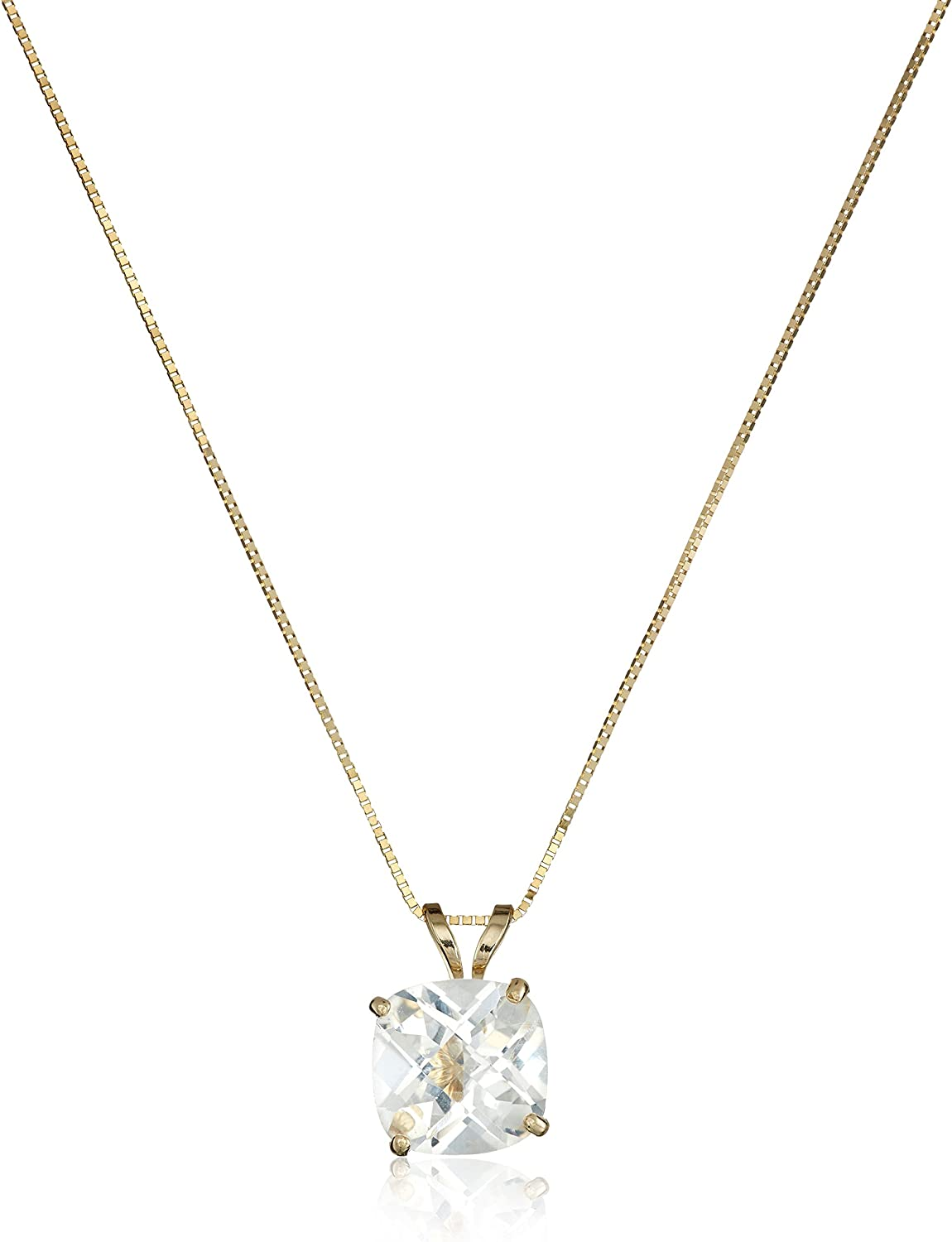 14k Gold cheap Cushion Checkerboard Cut 8mm Gemstone 2021 autumn and winter new Necklace Pendant