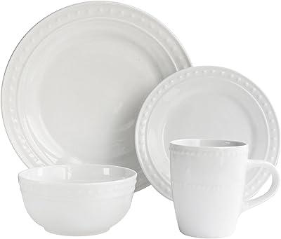 Elle Decor elle décor Casual Round Dinnerware Set – 16-Piece Porcelain Party Collection w/ 4 Dinner Salad Plates, 4 Bowls & 4 Mugs – Unique Gift Idea, White Monique