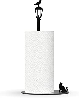 Kitchen Decor Cat Vs. Crow - Black Metal Paper Towel Dispenser & Countertop Kitchen Paper Towel Holder - Cat Lover Gifts For Women, Funny Cat Gifts For Cat Lovers