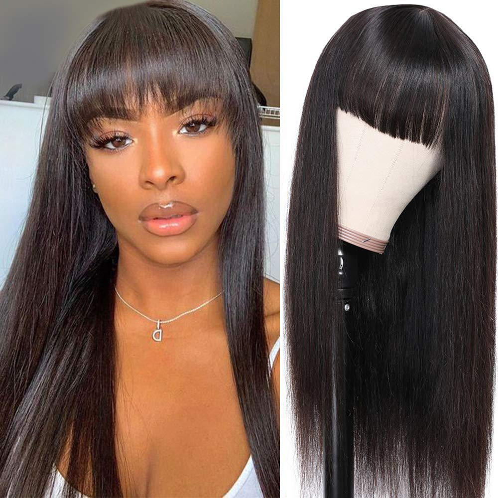 Straight Machine Made Wigs Ranking TOP8 With Bangs Boston Mall Human Front Hair None Lace