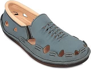 tZaro Genuine Leather Nubuck Blue Sandal - Transformer Blue, DMRONBLU26