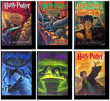 J.K. Rowling Harry Potter Collection 6 Books Bundle (Chamber of Secrets,Prisoner of Azkaban,Goblet of Fire,Order of The Phoenix,Half-Blood Prince,Deathly Hallows) Hardcover