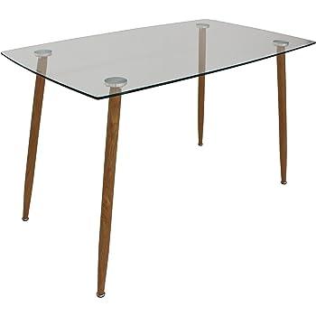 Oui Home. Mesa Comedor o Cocina Tapa Cristal 120 x 70, Patas metalicas Imitacion Madera: Amazon.es: Hogar
