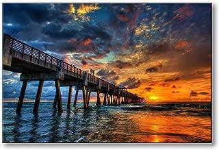 Spoonbills Modern Wall Art Sunset Ocean Bridge Painting Printed on Canvas for Home Decor Lifestyle Artwork (Sunset Ocean & Bridge)