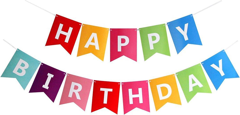Amazon.com: Fecedy Colorful Happy Birthday Banner Bunting : Toys & Games