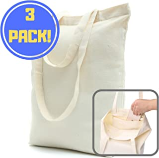 Heavy Duty and Strong, Large Zippered Canvas Tote Bags with Bottom Gusset & Zippered Pocket for Crafts, Shopping, Groceries, Books, Welcome Bag, Diaper Bag, and the Beach! (3, 16x15x4)
