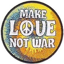 Parche termoadhesivo con el texto «Make Love Not War» y el símbolo de la paz, con un tamaño de 7,4x7,4cm