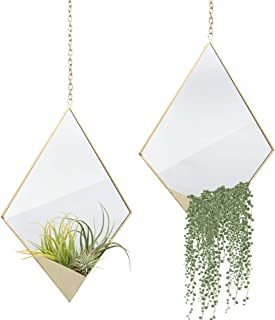 Set of 2 Bohemian Wall Mirror Decor, Boho Chic Gold Mirror with Air Plant Holder, Modern Plant Pot Hanger, Hanging Gold Accent with Planter Pot for Succulents, Geometric Minimalist Nursery Decorations