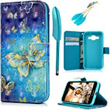 MOLLYCOOCLE Galaxy G360 Case, Blue PU Leather Wallet Case 3D Relief Pattern TPU Inner Bumper Credit Card Holders Hand Strap Cover for Samsung Galaxy Core Prime - Golden Butterfly