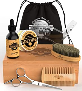 Premium Beard Grooming Kit for Men | 2oz Sandalwood Balm, 2oz Unscented Oil, Boar Bristle Brush, Double Action Comb, Barber Scissors, Precision Shaping Tool | Presented in Deluxe Gift Bamboo Box.
