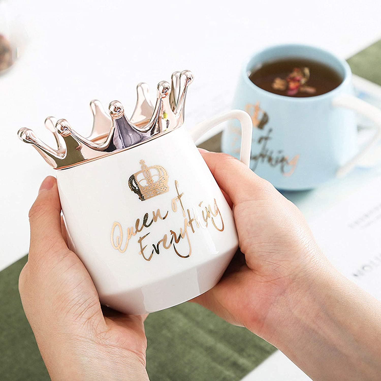 Black 12 oz Cute Coffee Mug /& Tea Cups With Crown Lid and Spoon Crown Queen Cup White Ceramic Coffee Cup Birthday Gifts for Women Girls