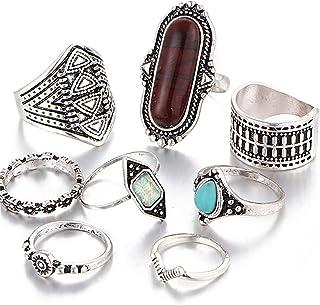 ياونهوا 8 قطع البوهيمي خمر النقش خواتم للنساء مشترك المفاصل خاتم المرأة خواتم أنيقة، الفضة براون
