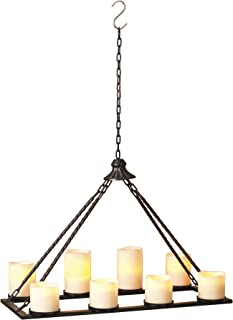 TenWaterloo 24 Inch Black Metal Hanging Candle Holder for 8 Pillar Candles - Candle Chandelier